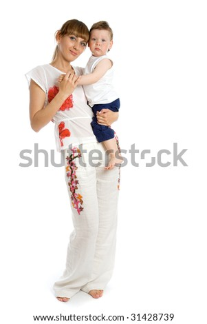 Happy young caucasian mother with her daughter