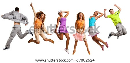 Happy young caucasian people jumping into the air, isolated on white - stock photo