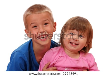 Happy young children who are brother and sister