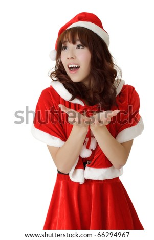 Happy young Christmas girl with exciting and surprised expression over white. - stock photo