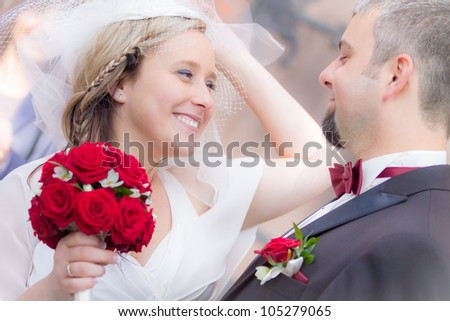 Happy young couple after the wedding ceremony - stock photo