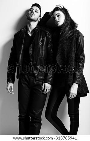 Happy young couple. Fashion photo. - stock photo