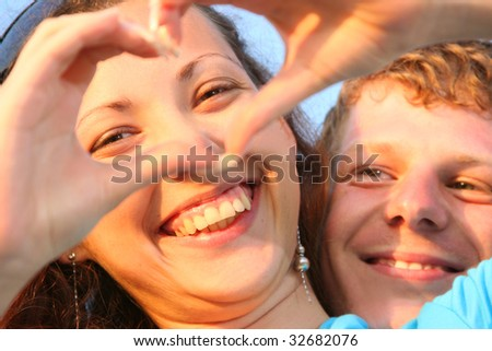 happy young couple having fun outdoors - stock photo