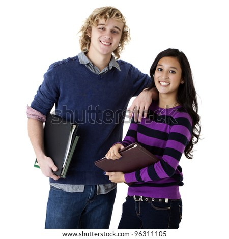 happy young couple holding school books - stock photo
