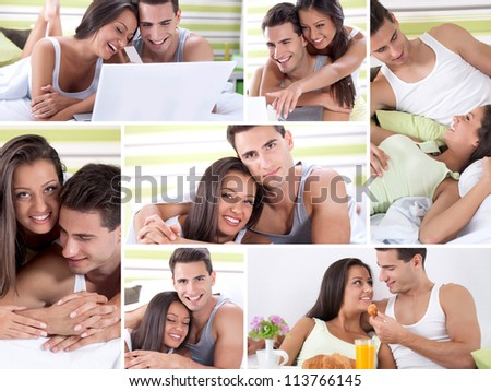 Happy young couple in bed enjoying together - stock photo