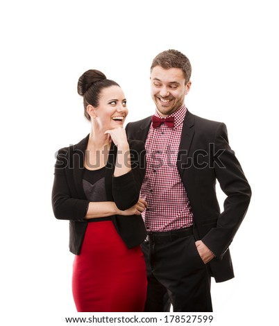 Happy young couple in evening dress. Isolated on white background.