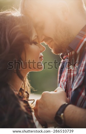 happy young couple in love outdoor happy young couple in love outdoor  - stock photo