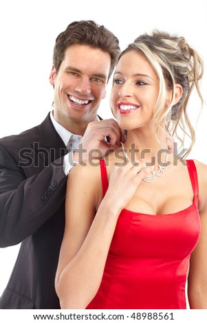 Happy young couple in love. Over white background - stock photo