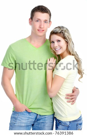 Happy young couple in love. Over white background