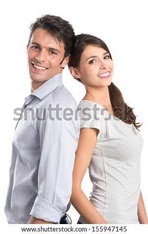 Happy Young Couple Isolated Over White Background