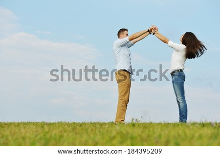 Happy young couple making a new dream home - stock photo