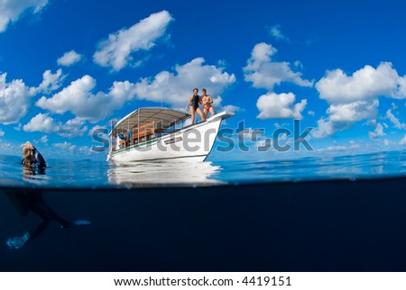 Happy young couple on a boat. Split shot, over under