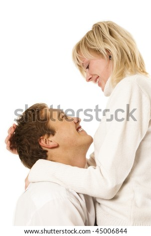 Happy young couple  on the white background