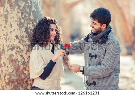 Happy Young Couple on Valentine's Day - stock photo