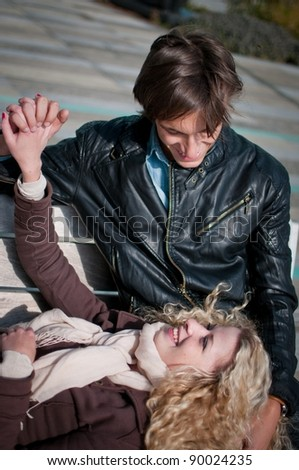 Happy young couple outdoor - stock photo