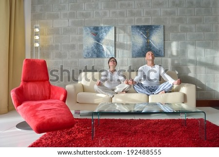 happy young couple relax at modern home living room indoor - stock photo