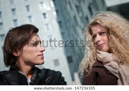 Happy young couple together - stock photo