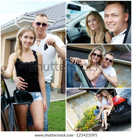 Happy young couple traveling by car - stock photo