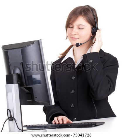 happy young customer service operator girl wearing headset, working on computer, smiling, series - stock photo