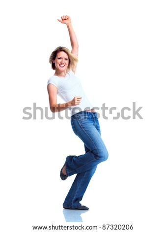 Happy young dancing woman. Isolated over white background. - stock photo