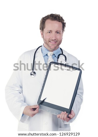 Happy young doctor displaying reports against white background