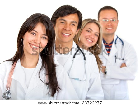 happy young doctors on isolated white background - stock photo