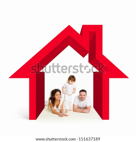 Happy young family in house. Mortgage concept - stock photo