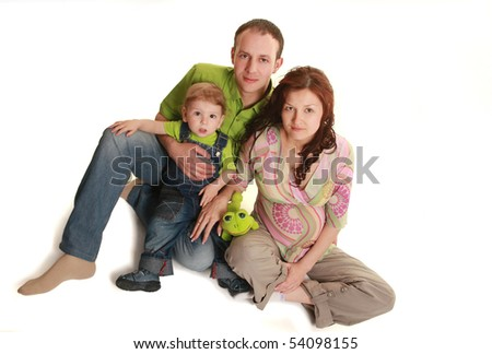 happy young family isolated on white - stock photo