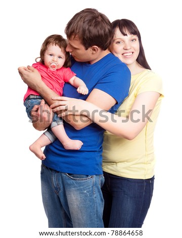 happy young family; mother, father and their daughter isolated against white background - stock photo