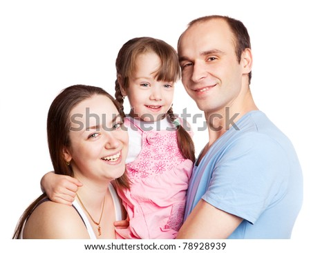 happy young family; mother, father and their daughter isolated against white background (focus on the woman)