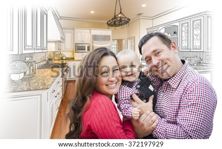 Happy Young Family Over Custom Kitchen Design Drawing and Photo Combination. - stock photo