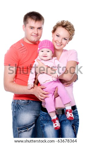 Happy young family with beautiful baby on white background