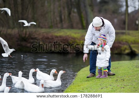 Happy young father and his adorable toddler daughter feeding white geese in a beautiful winter park with a river - stock photo