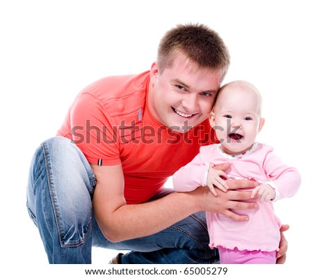 Happy young father with attractive smile with his sweet baby -  on white background - stock photo