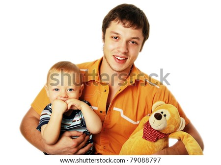 Happy young father with his son - stock photo