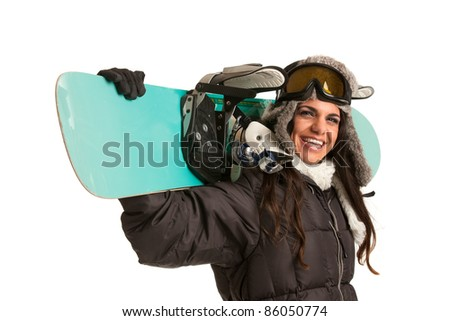 Happy Young Female Snowboarder on Isolated White Background - stock photo