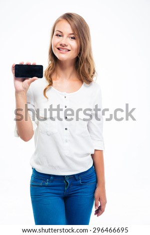 Happy young female student showing smartphone screen isolated on a white background - stock photo
