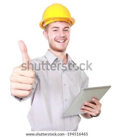 Happy young foreman with hard hat showing thumb up - stock photo