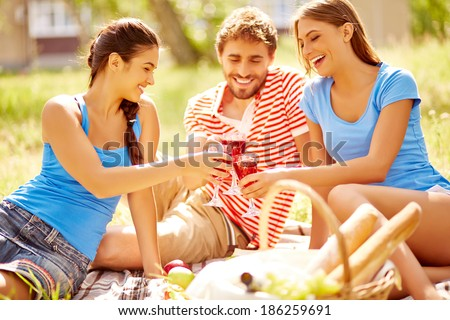 Happy young friends toasting with wine at picnic in the country - stock photo