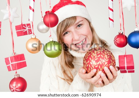Happy young girl at Christmas time