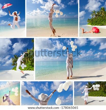 Happy young girl enjoying at Maldives beach.Split screen - stock photo