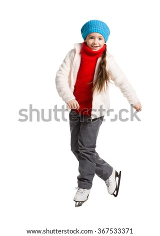 Happy young girl figure skating, isolated - stock photo