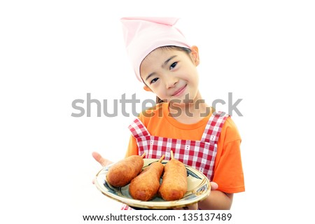 Happy young girl holding foods - stock photo