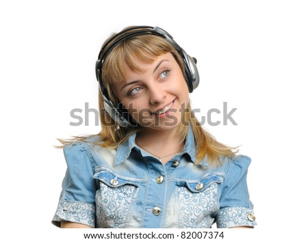 Happy young girl in headphones isolated on whithe background