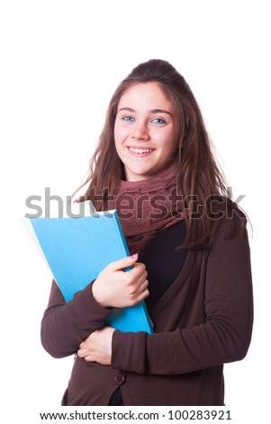 Happy Young Girl Student