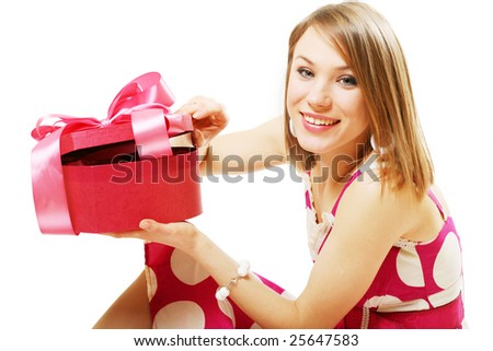happy young girl with gift
