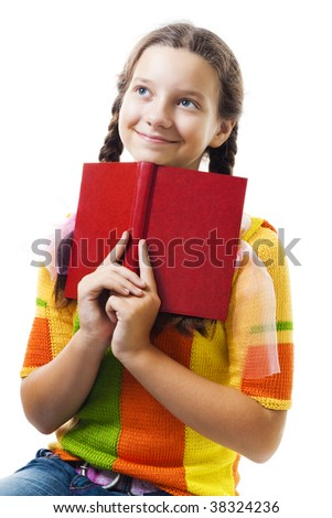 Happy young girl with red book smile and dreaming,isolated on white - stock photo