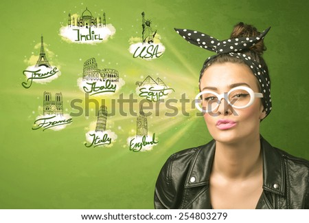Happy young girl with sunglasses traveling to cities around the world concept - stock photo