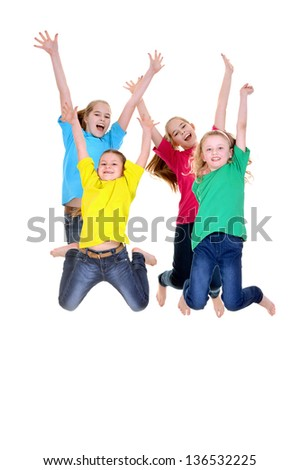 happy young girls in colorful t-shirts on white background