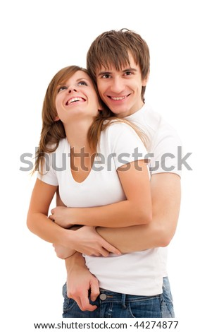 Happy young good looking couple . Laughing - stock photo